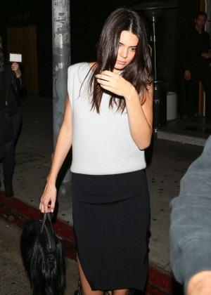 Kendall Jenner in Black Skirt at The Nice Guy in Los Angeles