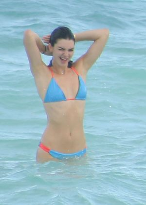 Kendall Jenner in Blue Bikini in Turks and Caicos