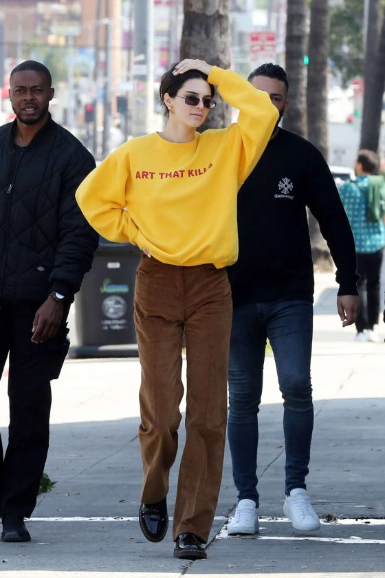 Kendall Jenner in Brown Pants -04