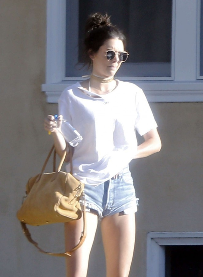 Kendall Jenner in denim shorts out in Malibu