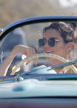 Kendall Jenner in denim shorts -03