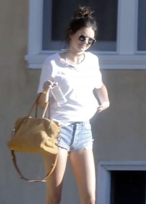 Kendall Jenner in denim shorts -04