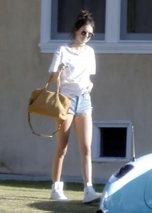 Kendall Jenner in denim shorts -14