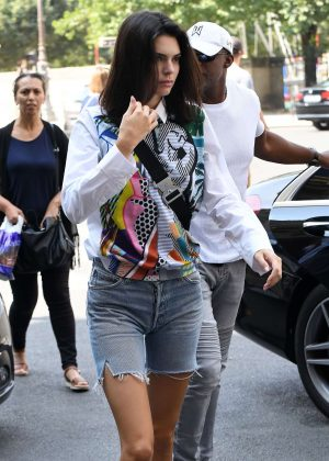 Kendall Jenner in Denim Shorts - Out in Paris