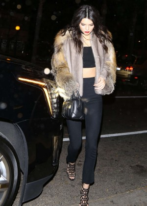 Kendall Jenner in Fur Coat Arrives at a party in Hollywood