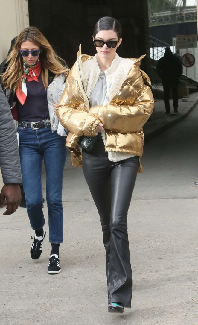 Kendall Jenner in Gold Jacket out in Paris -01