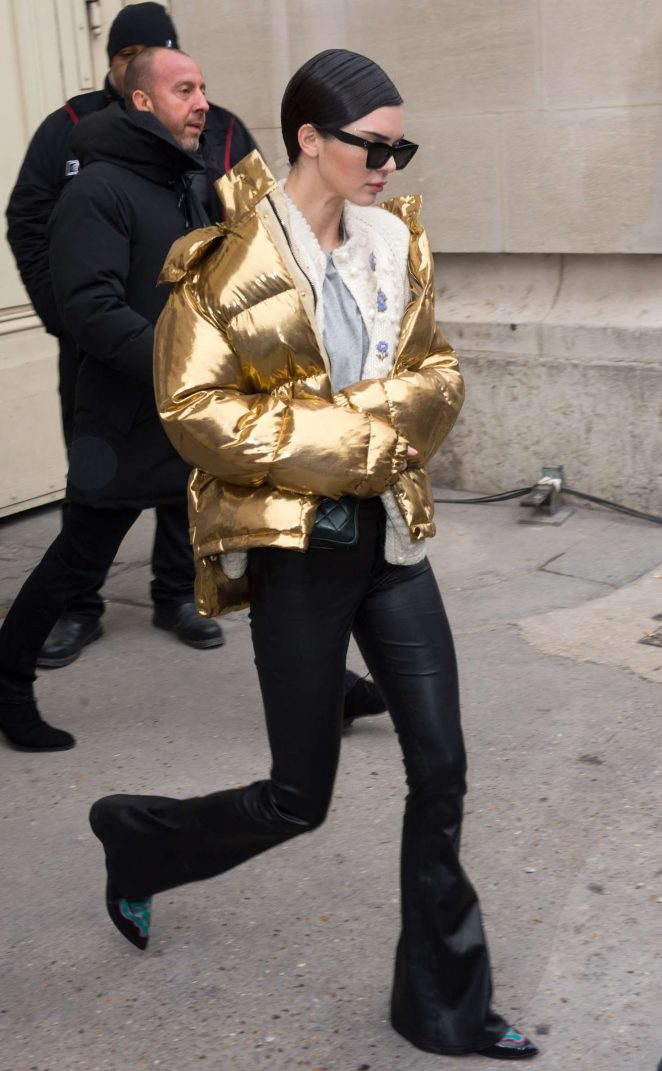 Kendall Jenner in Gold Jacket out in Paris -04