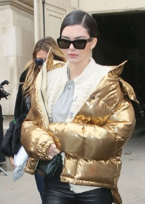 Kendall Jenner in Gold Jacket out in Paris