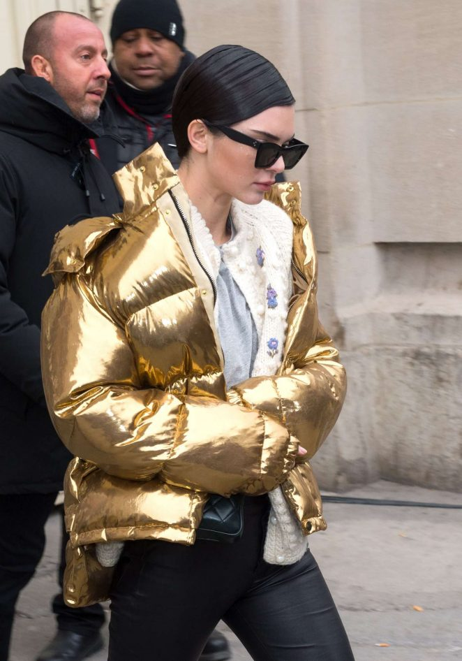 Kendall Jenner in Gold Jacket out in Paris -08