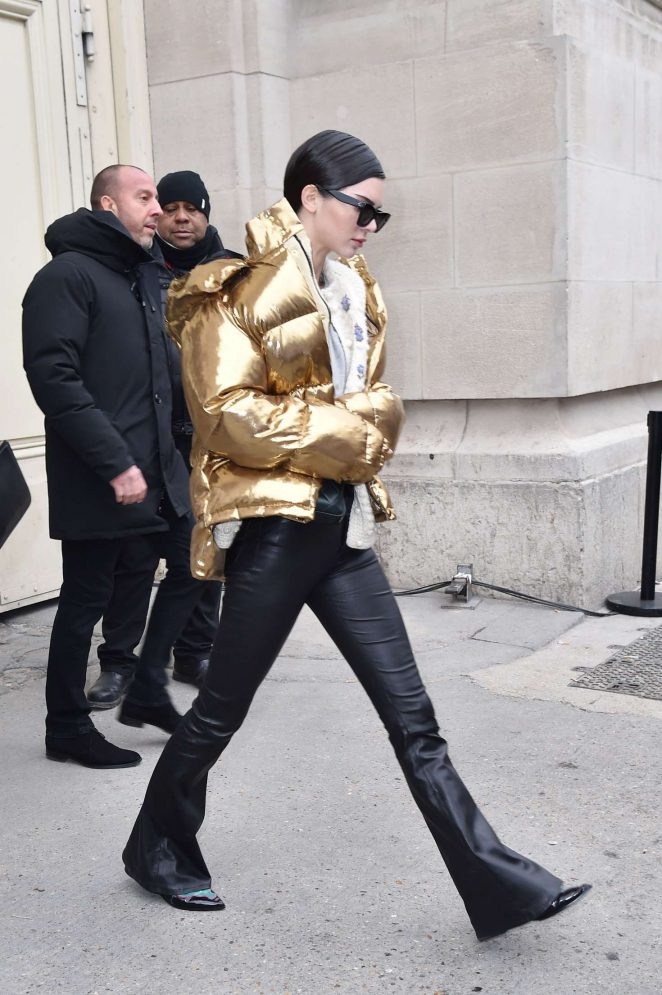 Kendall Jenner in Gold Jacket out in Paris -10
