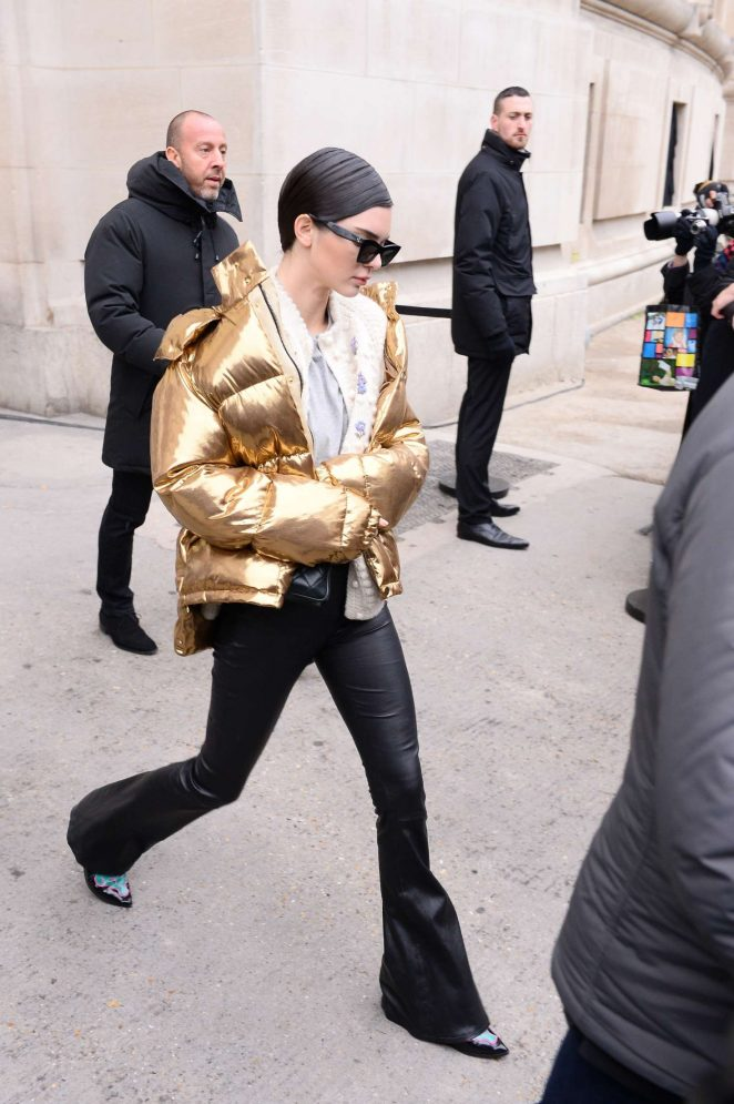 Kendall Jenner in Gold Jacket out in Paris -11