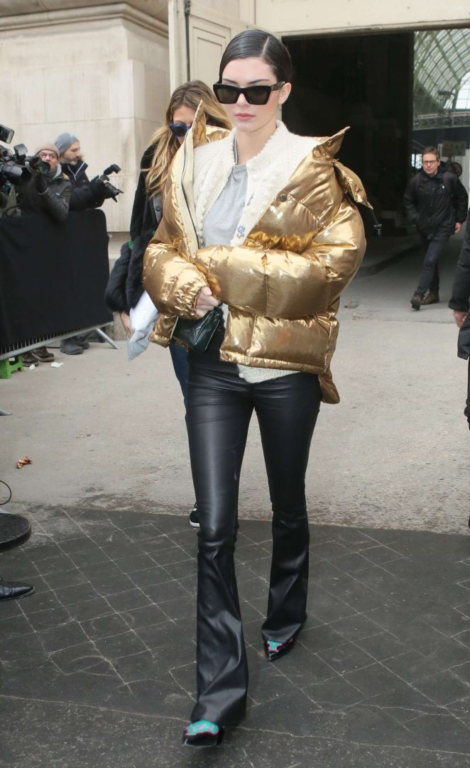 Kendall Jenner in Gold Jacket out in Paris -13