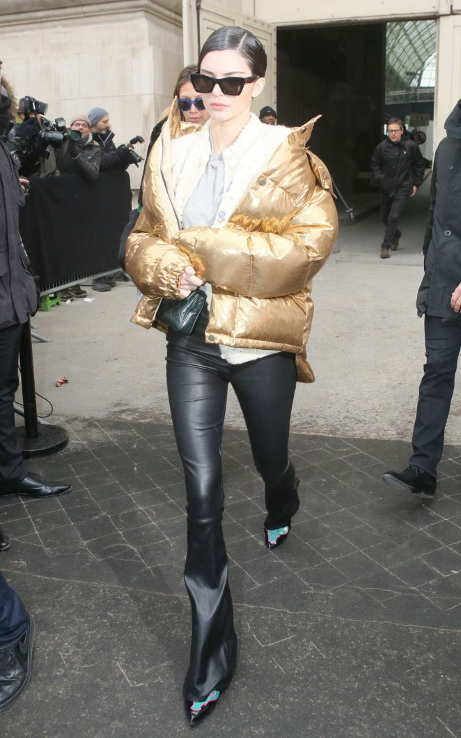 Kendall Jenner in Gold Jacket out in Paris -16