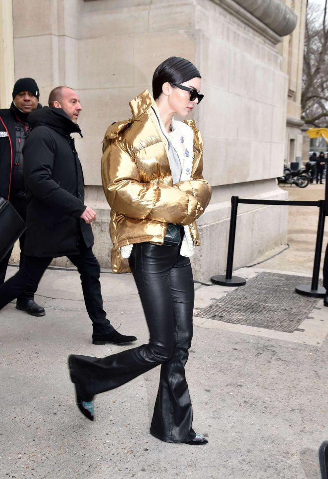 Kendall Jenner in Gold Jacket out in Paris -18
