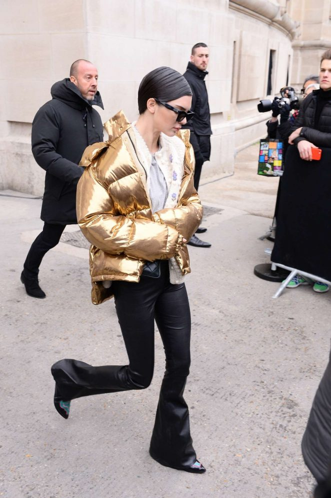 Kendall Jenner in Gold Jacket out in Paris -20