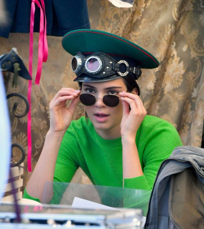 Kendall Jenner in Green at the Flea Market in Los Angeles