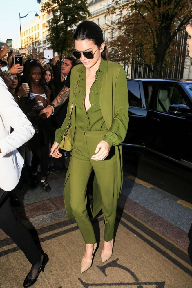 Kendall Jenner in Green out in Paris