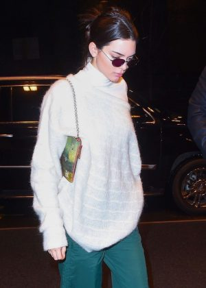 Kendall Jenner in Green Pants out in NYC