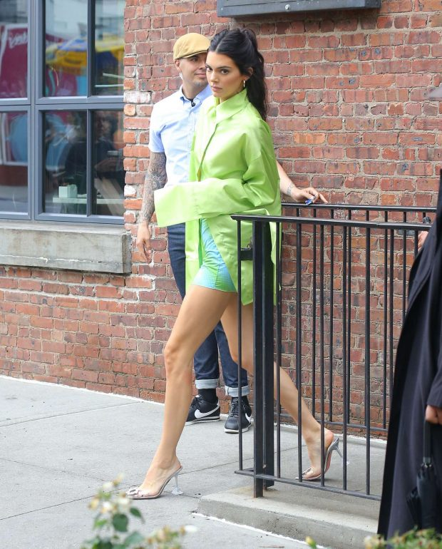 Kendall Jenner in Green Shirt and Mini Skirt-01