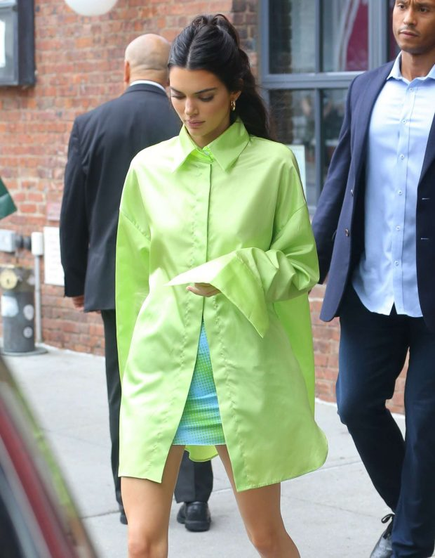 Kendall Jenner in Green Shirt and Mini Skirt-02