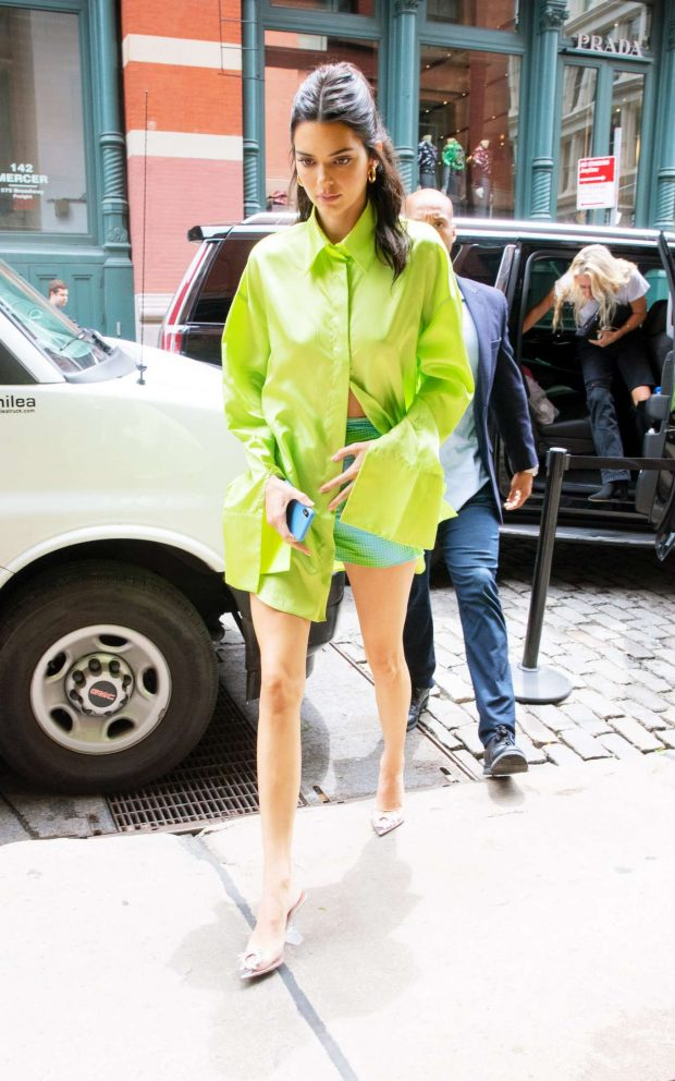 Kendall Jenner in Green Shirt and Mini Skirt - Out in NYC