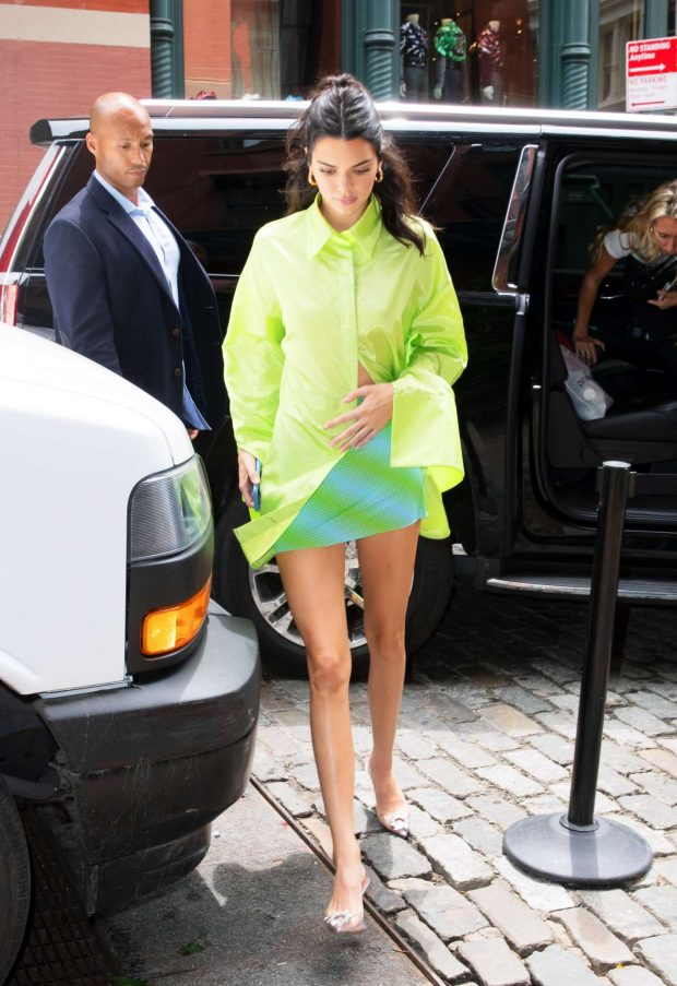 Kendall Jenner in Green Shirt and Mini Skirt-24