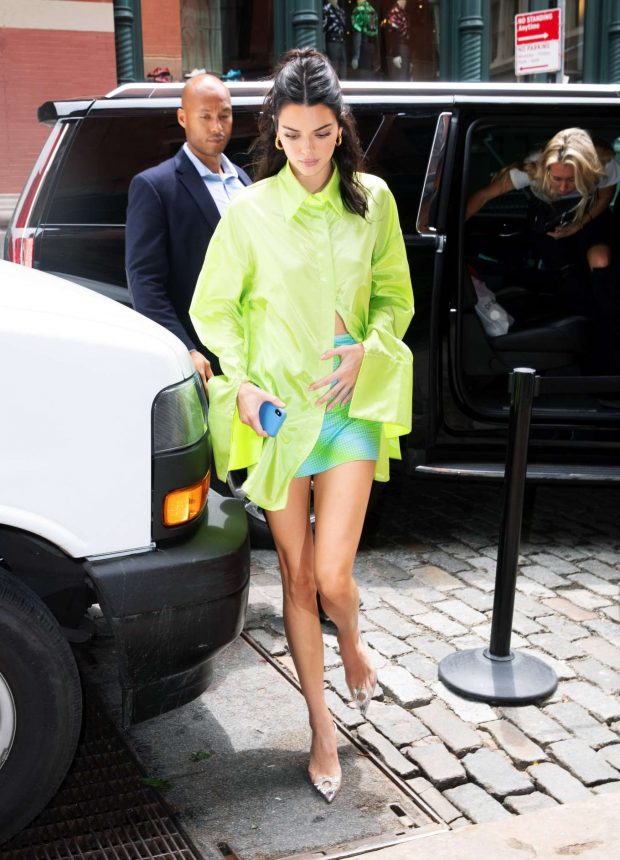 Kendall Jenner in Green Shirt and Mini Skirt-25