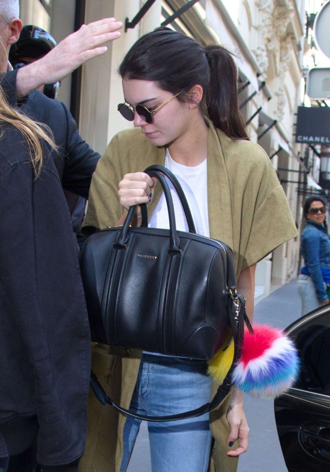 Kendall Jenner in Jeans at Chanel Store in Paris