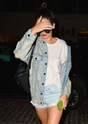 Kendall Jenner in Jeans Jacket and Shorts out in Manhattan