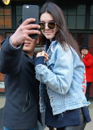 Kendall Jenner in Jeans Jacket out in New York