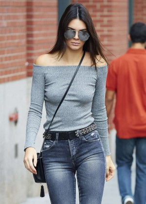 Kendall Jenner in Jeans Leaving her apartment in NYC