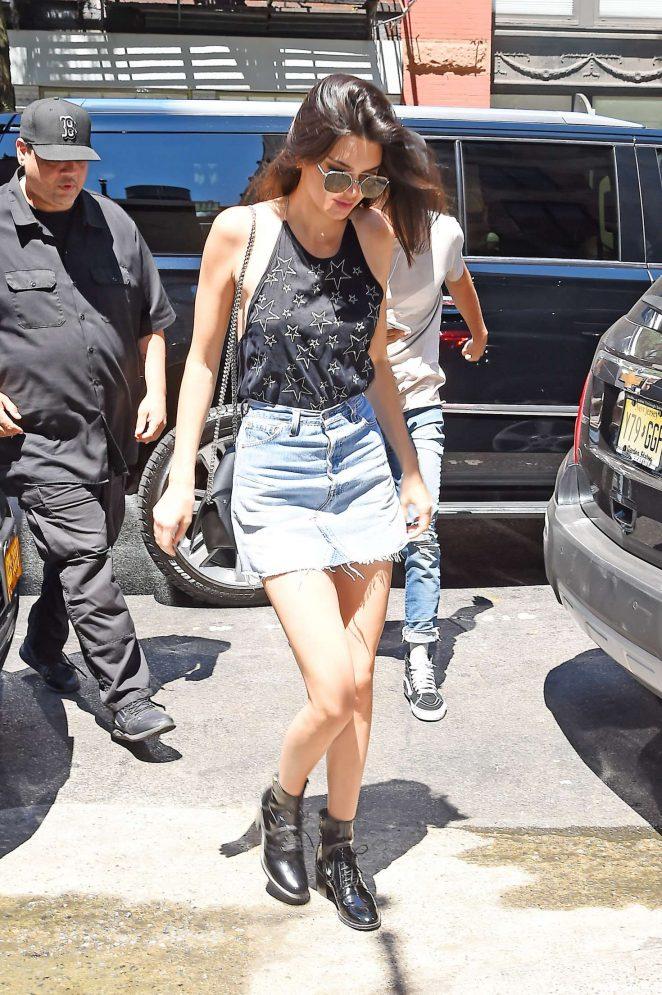 Kendall Jenner 2016 : Kendall Jenner in Jeans Mini Skirt -10