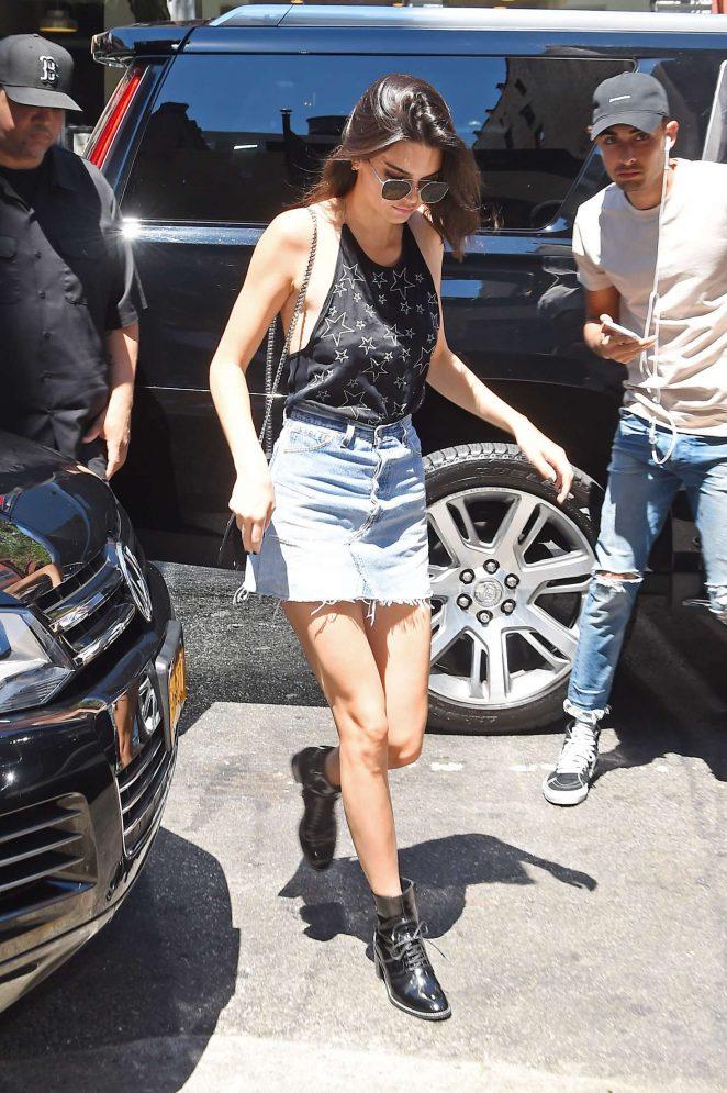 Kendall Jenner 2016 : Kendall Jenner in Jeans Mini Skirt -14