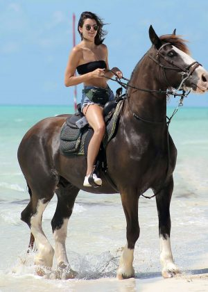 Kendall Jenner in Jeans Shorts at a beachwalk ride in Turks and Caicos