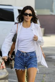 Kendall Jenner in Jeans Shorts - Out for lunch in Beverly Hills