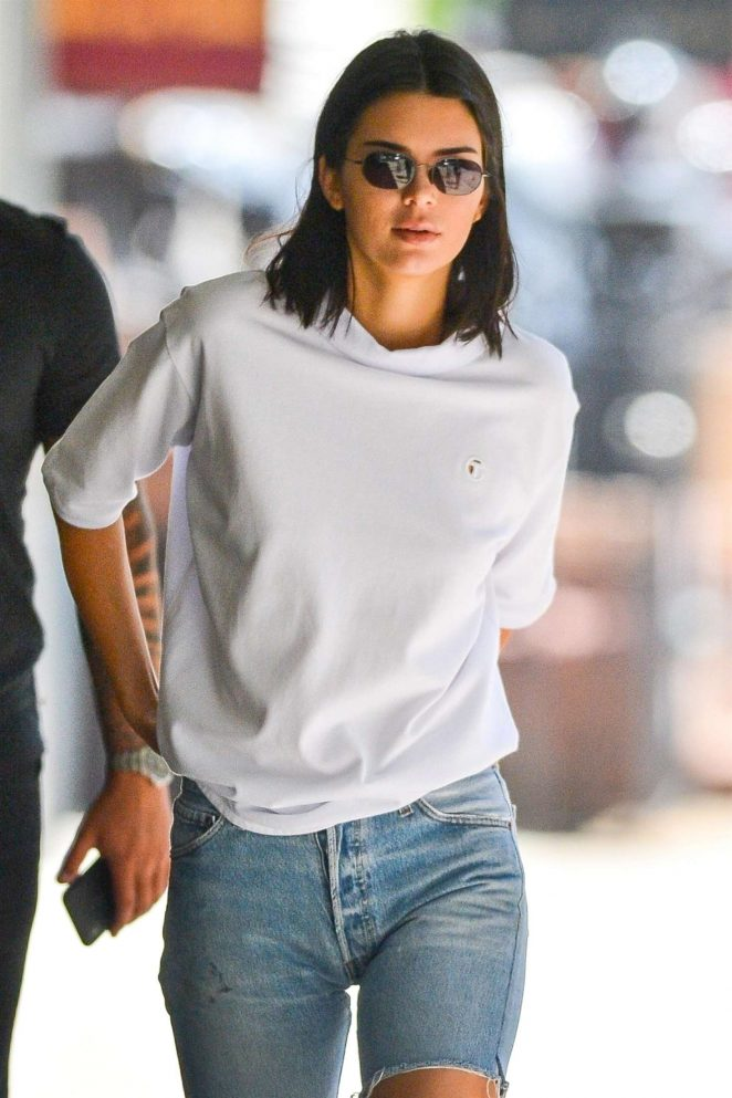 Kendall Jenner in Jeans Shorts out in New York