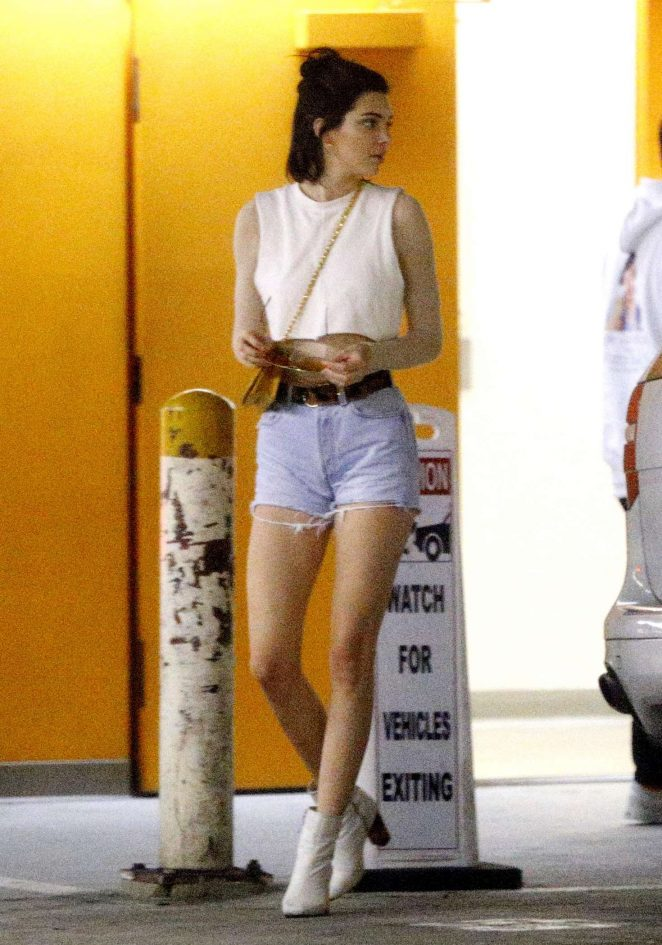 Kendall Jenner in Jeans Shorts shopping in Beverly Hills