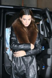 Kendall Jenner in Leather Coat - Out in New York