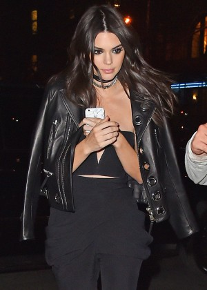 Kendall Jenner in Leather Jacket out in Soho
