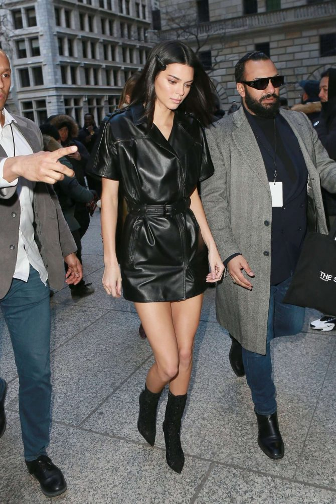 Kendall Jenner in Leather Mini Dress -02
