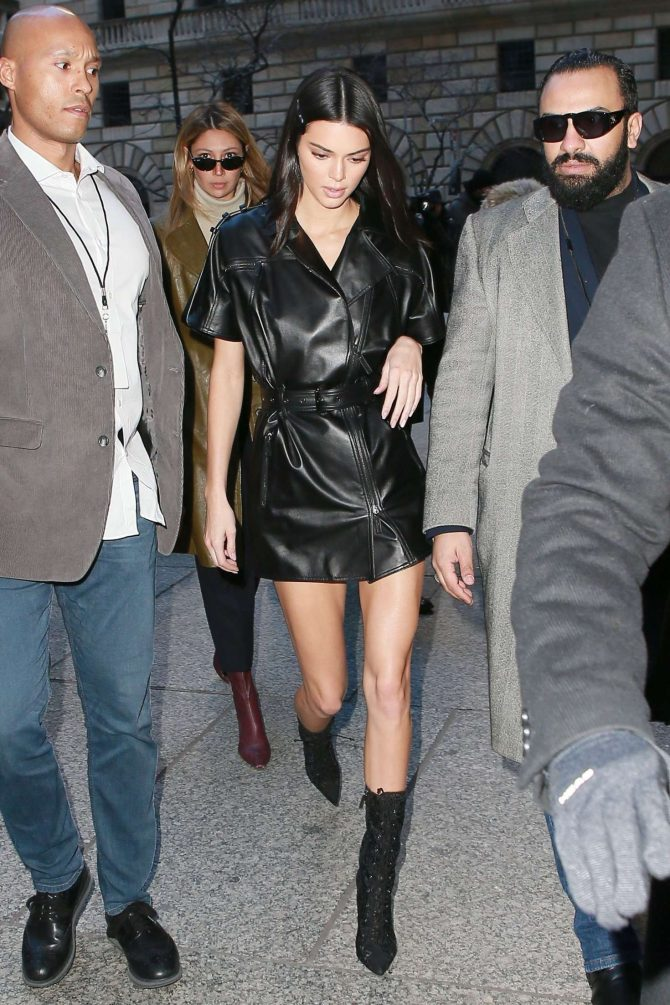 Kendall Jenner in Leather Mini Dress -03