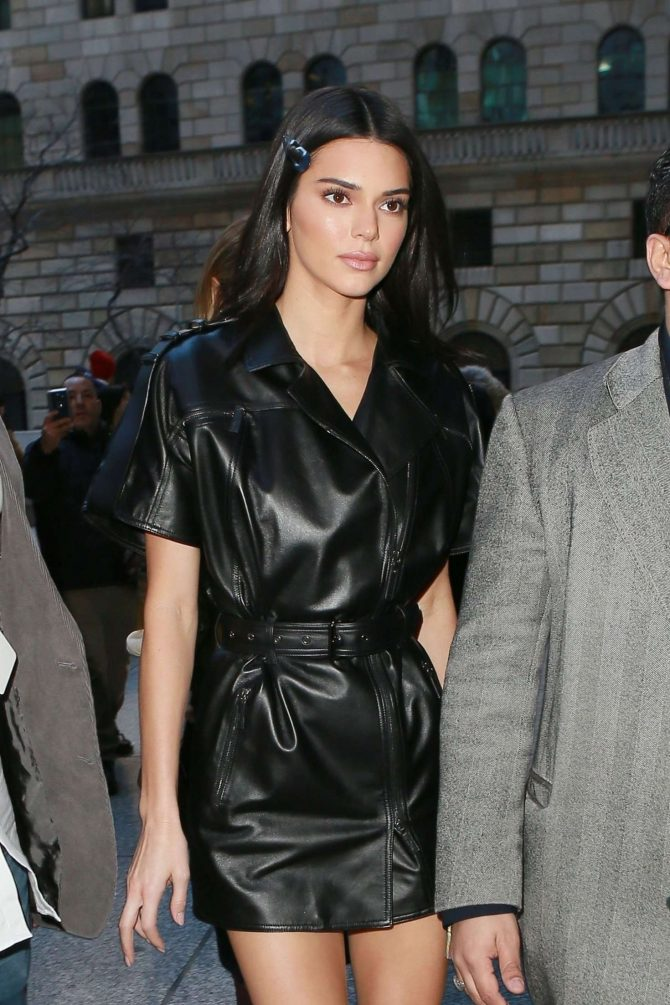 Kendall Jenner in Leather Mini Dress -04