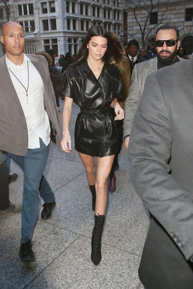 Kendall Jenner in Leather Mini Dress -06