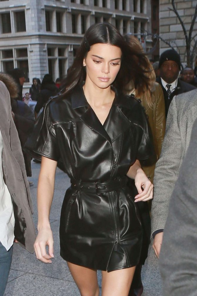 Kendall Jenner in Leather Mini Dress - Arrives at Long Champs Fashion Show in NYC