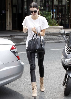 Kendall Jenner in Leather Pats Out in Paris