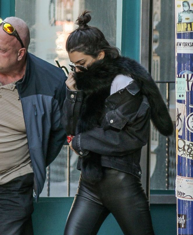 Kendall Jenner in Leather out in New York City