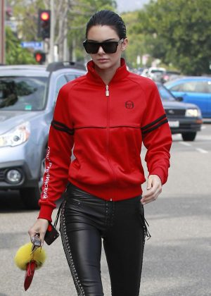Kendall Jenner in Leather Pants and Red Jacket out in LA