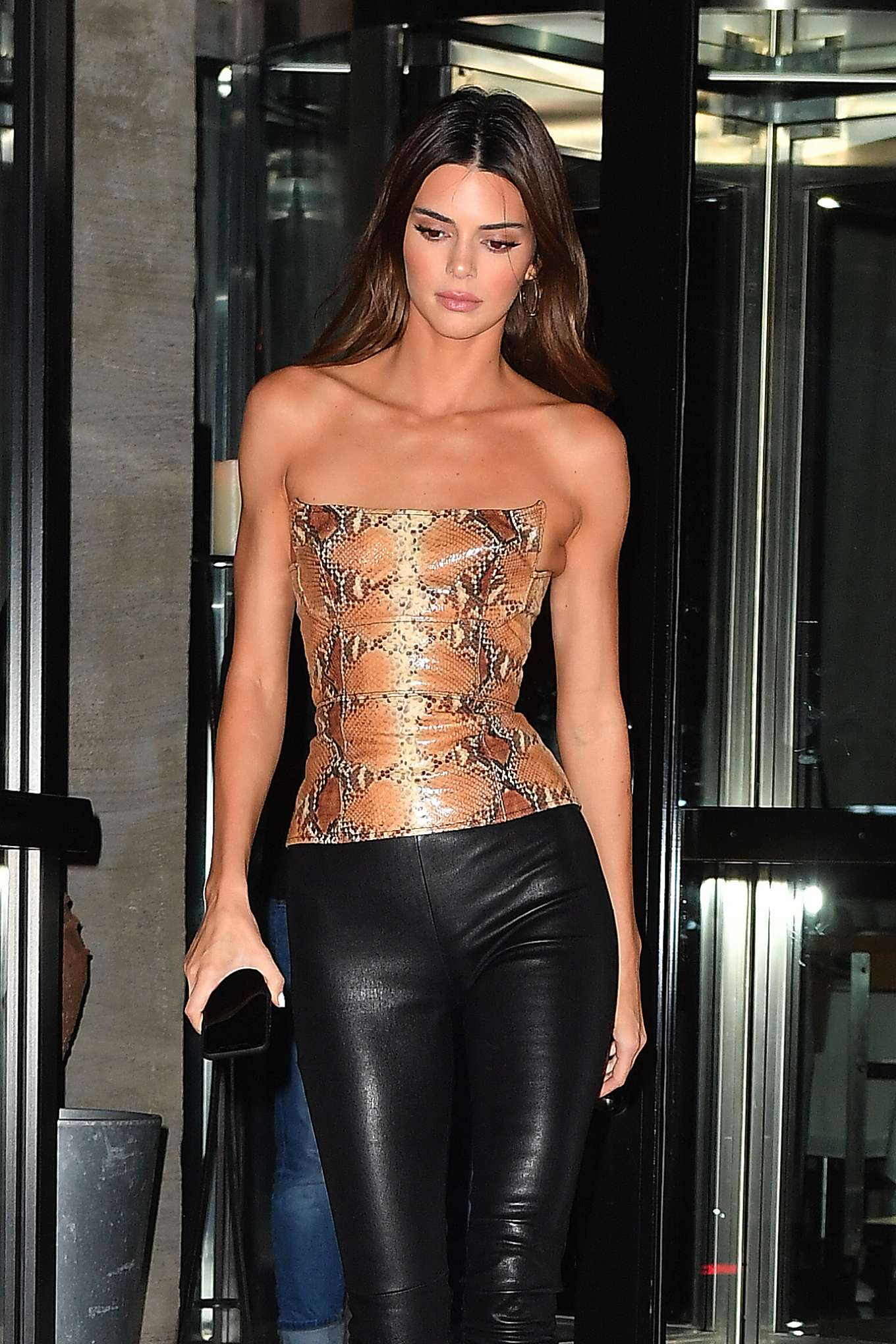 Kendall Jenner in Leather Pants and Snake Print Top - Leaves dinner at Milos in Miami Beach