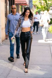 Kendall Jenner in Leather Pants and White Top - Out in New York City