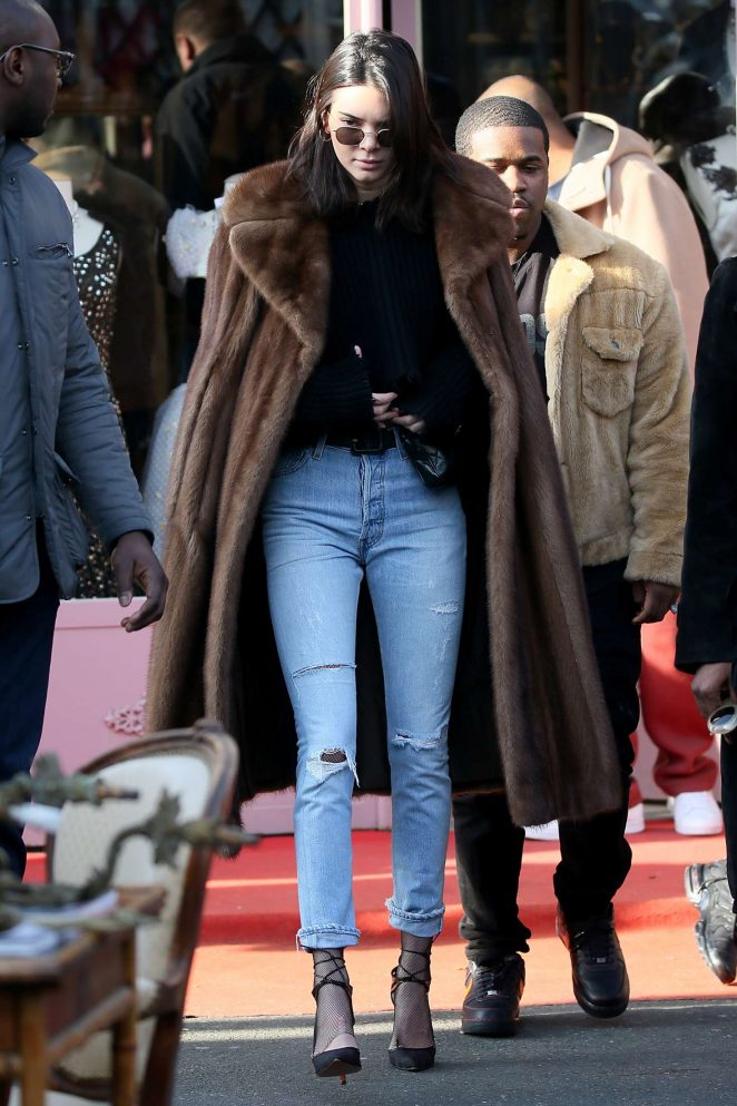 Kendall Jenner in Long Fur Coat out in Paris